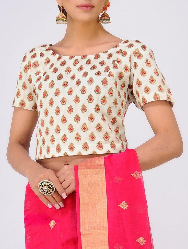 Buy Ivory Red Benarasi Cotton Blouse Women Blouses The Festive Closet tanchoi and chanderi sarees with zari Online at Jaypore.com