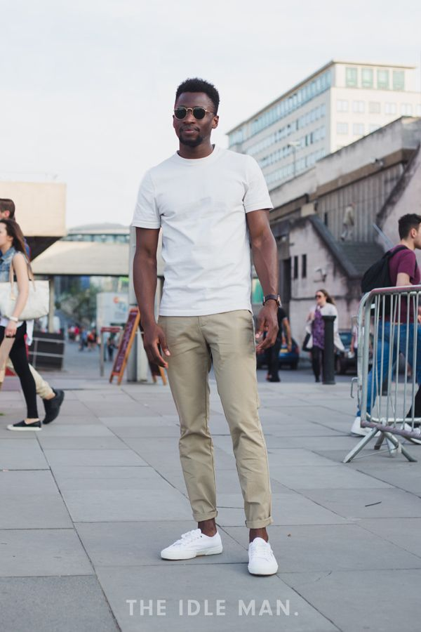 White Tees & Trainers | Nail an easy look with a white T-shirt, tan skinny chinos and some white trainers. Retro sunglasses will add extra style. | Shop men's clothing at The Idle Man