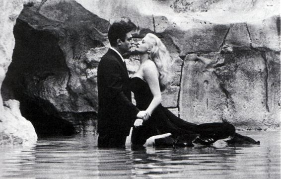 Marcello Mastroianni and Anita Ekberg in La Vita Dolce