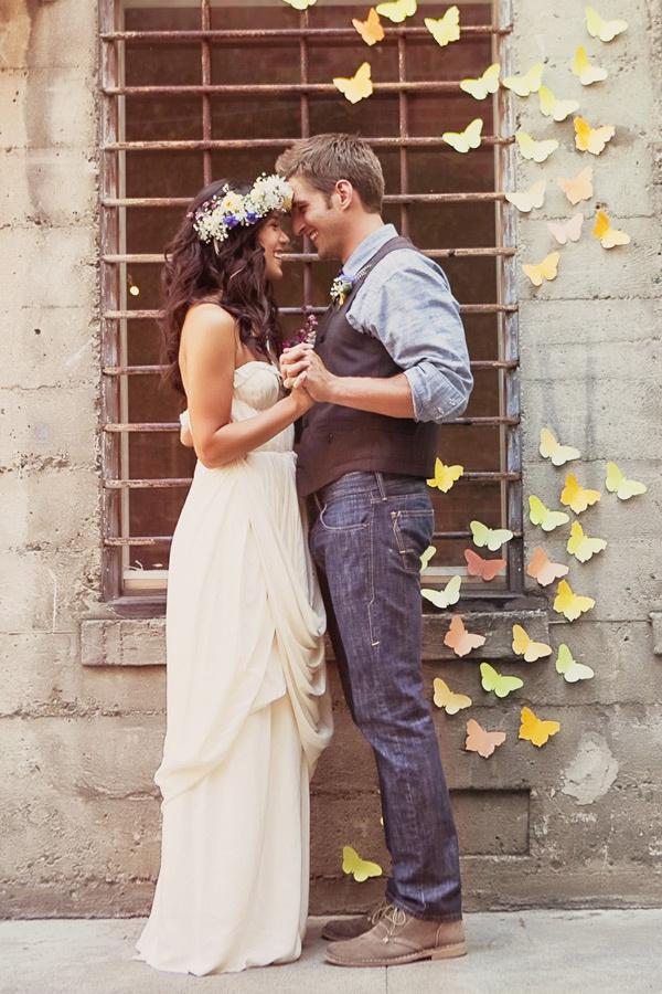 paper butterflies as backdrop