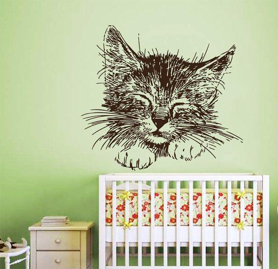 Cat muro decalcomanie Baby gattino vinile adesivo Pet animali domestici negozio amore animali Decal Home interni d