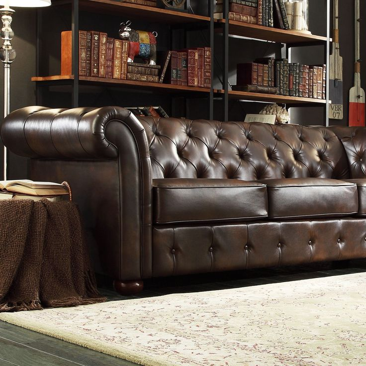 Signal Hills Knightsbridge Brown Bonded Leather Tufted Scroll Arm Chesterfield Sofa By Tribecca