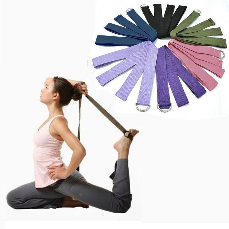 Nuevo de múltiples colores las mujeres yoga stretch correa d-ring cinturón figura cintura pierna ejercicio físico gimnasio cuerda resistencia bandas de fitness de algodón