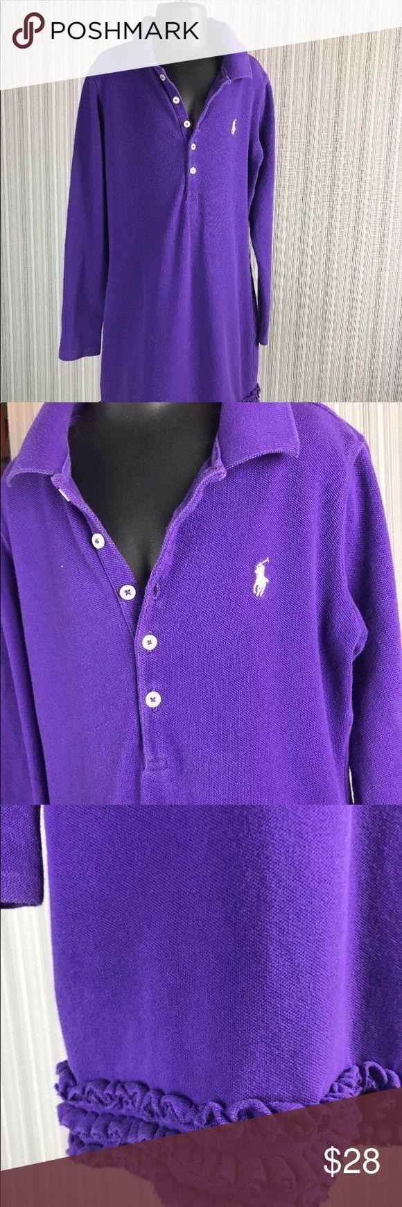 Back To School Girls 8/10 Ralph Lauren Purple Back To School Girls 8/10 Ralph Lauren Purple Long Sl Knit Ruffle Hem Polo Dress Ralph Lauren Dresses Casual