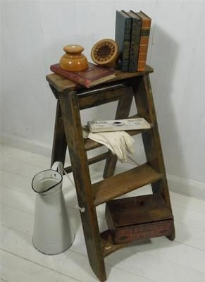 Charming ~ Vintage ~ Wooden Step Ladder / Retail Display / Shelves | eBay