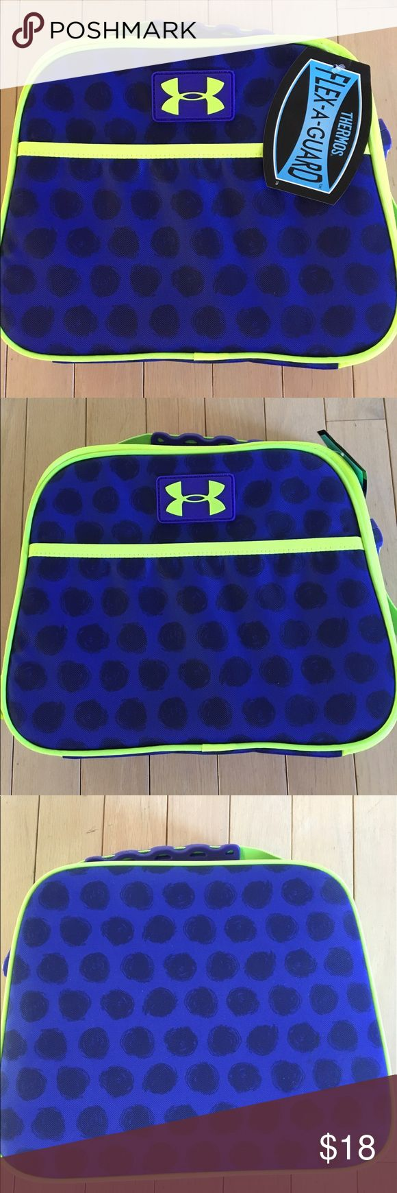 NWT UNDER ARMOUR INSULATED LUNCH COOLER NWT UNDER ARMOUR INSULATED LUNCH COOLER. Neon green and purple. Measures approximately 11 inches x 9 inches Under Armour Other