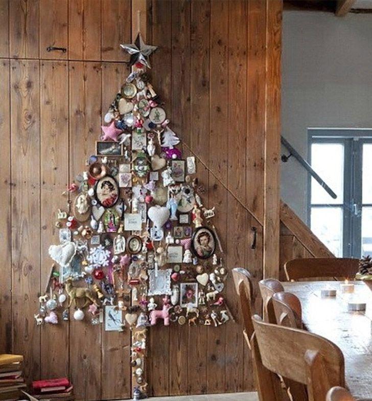 Faça Você Mesmo - 11 Ideias para árvores de Natal montadas na parede