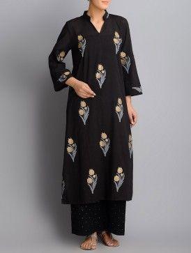 Black-Golden Khari Hand Block Printed Roll-Up Sleeve Cotton Kurta
