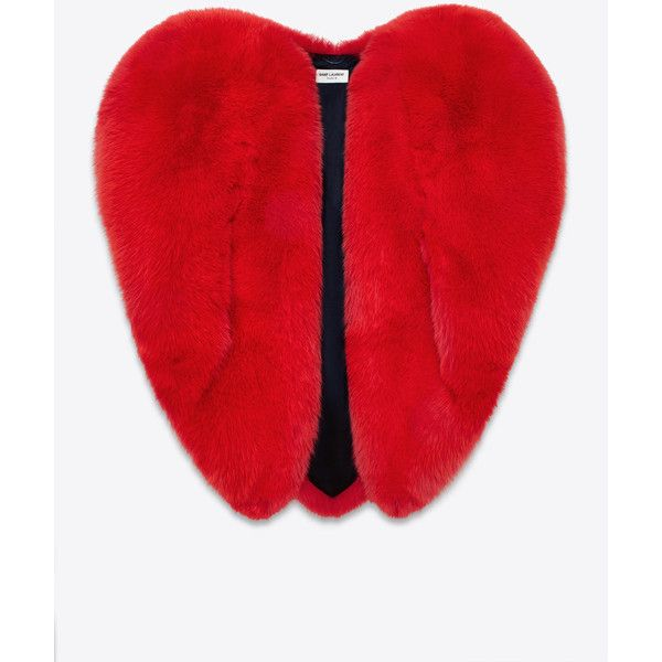 Saint Laurent Heart Cape (59 460 PLN) ❤ liked on Polyvore featuring outerwear, jackets, red cape, fur cape, cape coat, red fur cape and yves saint laurent