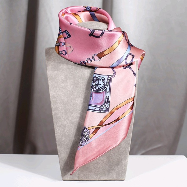 Satin Stretched Chain Floral Silk Scarf
