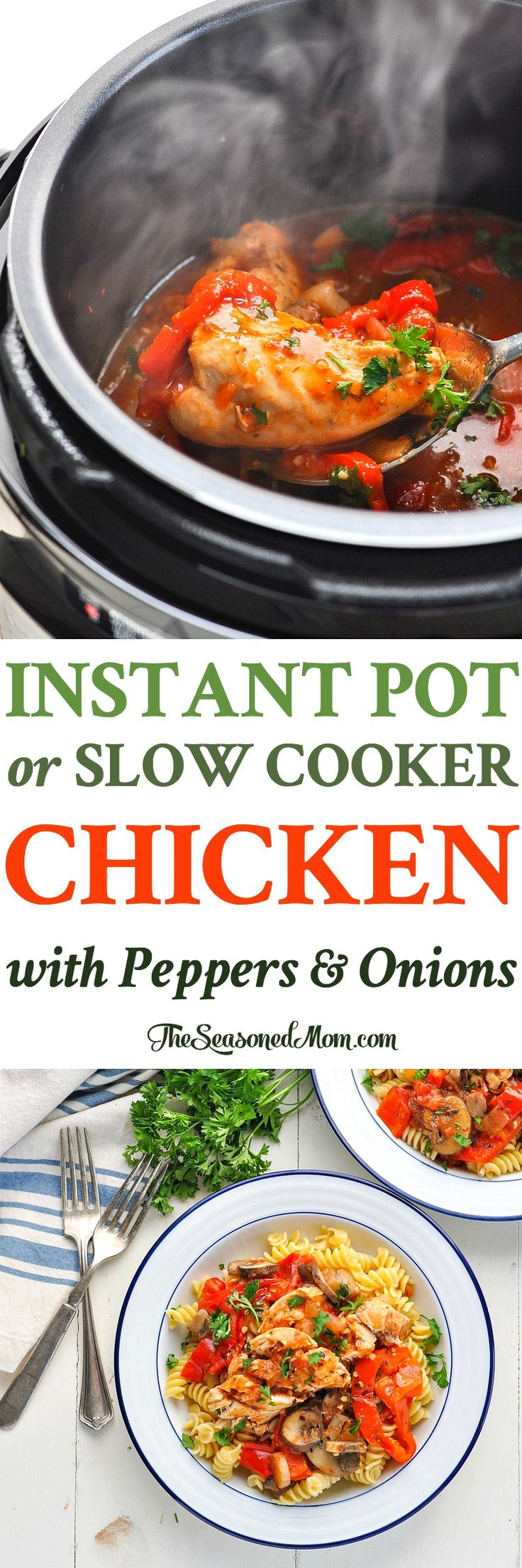 Slow Cooker or Instant Pot Chicken with Peppers - The Seasoned Mom
