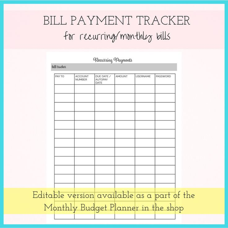 Best 25+ Organize monthly bills ideas on Pinterest Organizing - bills to pay template