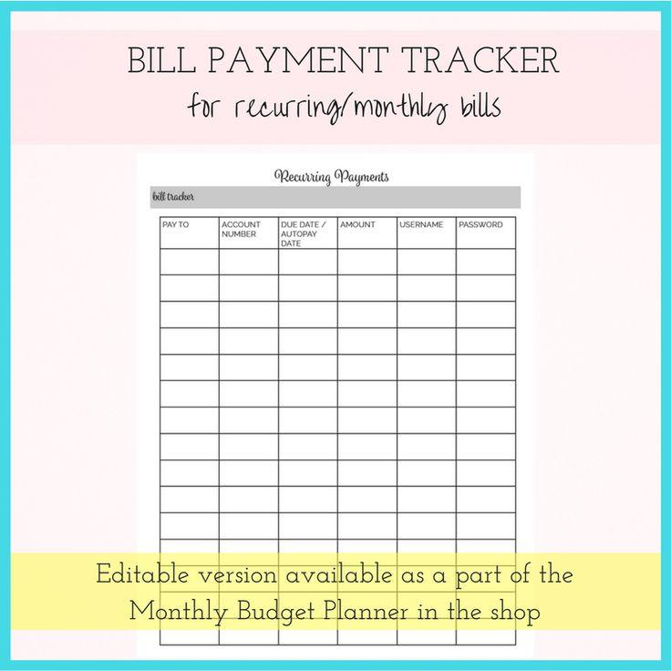 Organize monthly bills budget