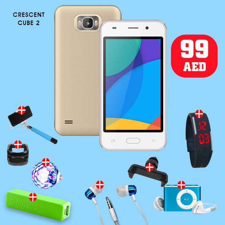 Flash Sale is Here ➜ 9 in 1 Bundle - Crescent Cube 2 - 3G , 4.0 Inch Dual Sim Gold & Get FREE ➜ Sport Wrist Watch, Selfie Stick, MP3, Car Mount, Magic Ball, Power Bank, Ear Phone, Mounted-Car  Tel ☎️ : 045576800 ➜ WhatsApp 📱: 0551045757  WWW.ASET-UAE.COM #asetuae #bundleoffers #flashsale