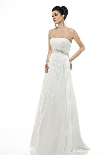 Grecian Strapless Dipped Wedding Dress with Pleats $129.99