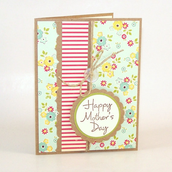 Mother's Day Card / Vintage Inspired / Hemp by FallingCoconuts, $4.00