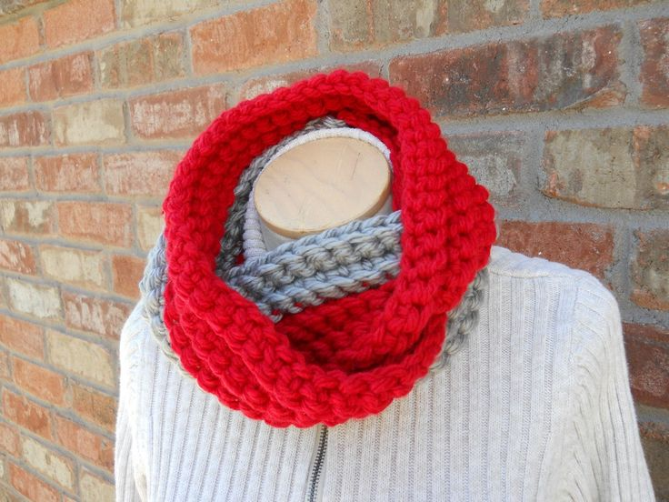 Red and Gray Scarf, Chunky Scarf, Infinity Scarf, Team Scarf, Team Gifts, Winter Scarf, Circle Scarf, Crochet Scarf, Cozy Scarf, Warm Scarf by foreverandrea on Etsy