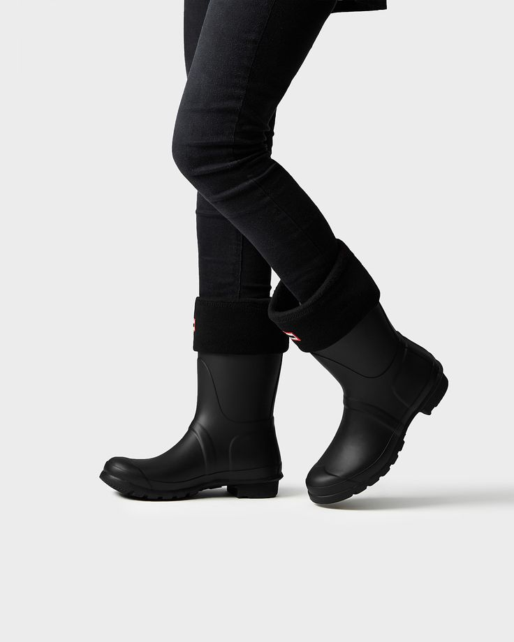 Womens Black Short Wellies | Official Hunter Boots Site