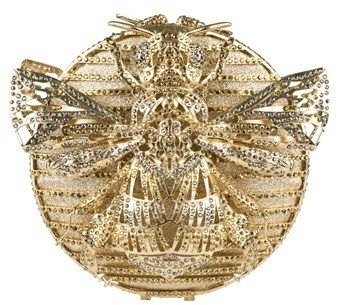 The Nude Face Bee Mirrored Grey And Mirrored Gold Swarovski Crystal Clutch.