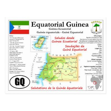 Equatorial Guinea Map Postcard - postcard post card postcards unique diy cyo customize personalize