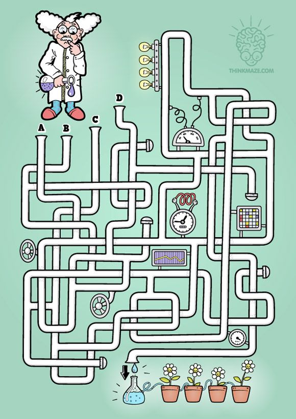 It´s time for you to experiment inside the Laboratory Maze! CLICK on the picture to download the high quality PDF maze!  Plus black and white version of a p