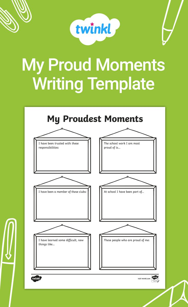 My Proud Moments Writing Template Writing Templates End Of School Writing Activities [ 1200 x 735 Pixel ]
