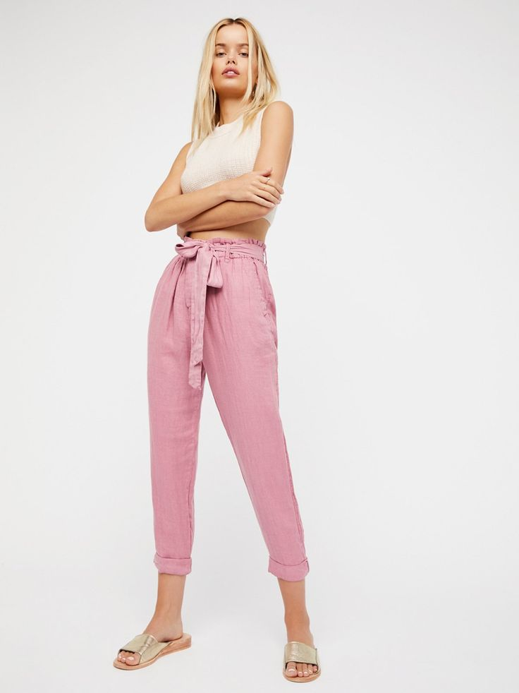 Like This Paper Bag Pant | Lightweight linen paper bag style pants.    * Button fly.   * Four-pocket style.   * Adjustable tie belt.   * Cropped inseam.   * Cuffed hem.