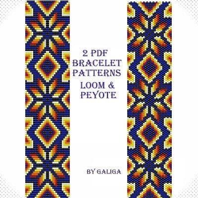 Loom pattern Peyote pattern Bracelet pattern Beading por Galiga
