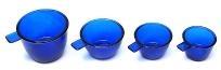 Colbalt Blue Glass Measuring Cups Set of 4