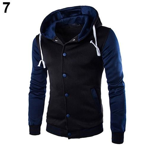 Men's Drawstring Button-Up Hoodie