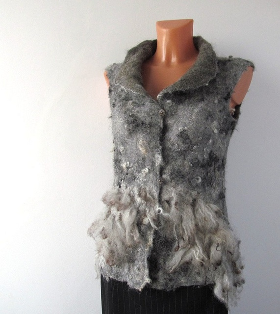 felted vest - grey raw wool by GalaFilc, via Flickr