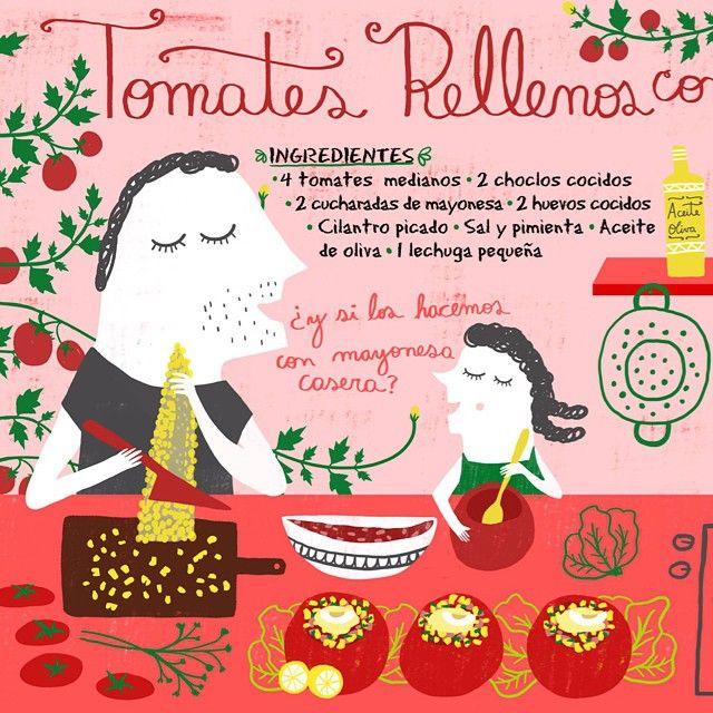 Tomates rellenos con choclo para Cositas Ricas Ilustradas