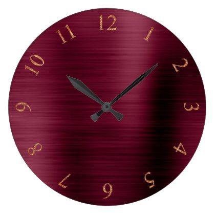 Burgundy Copper Metallic Rose Gold US UK Numbers Large Clock - burgundy style stylish cyo diy customize
