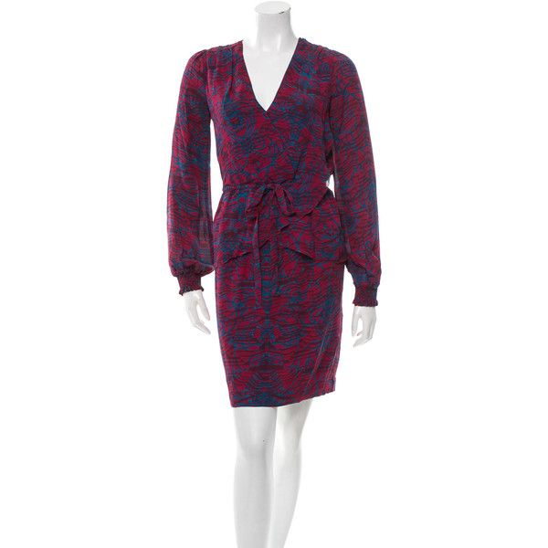 Marchesa Notte Printed Silk Dress ($125) ❤ liked on Polyvore featuring dresses, pink, long sleeve wrap dress, long sleeve silk dress, long sleeve dress, pink silk dress and purple long sleeve dress