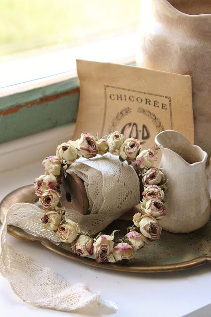 Rose wreath, vintage lace and ironstone pitcher