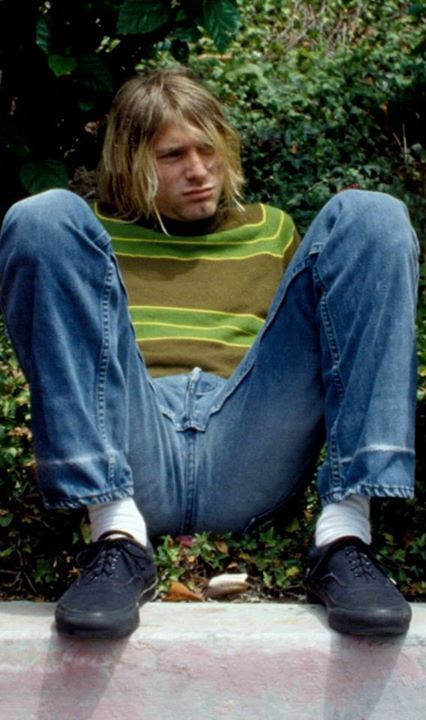 "Kurt Cobain on the set of the ""Smells Like Teen Spirit"" video, Culver City, August 17, 1991"