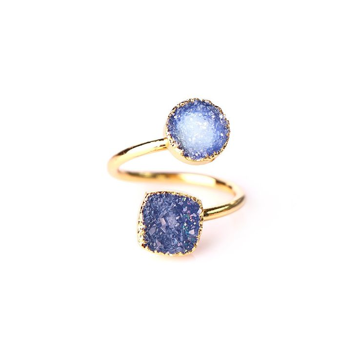Description: - blue colour druzy stones - Brass with gold plated - open ring…