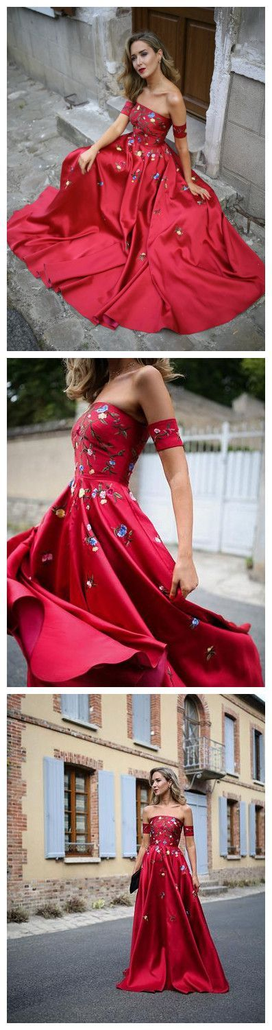 Elegant Sexy red long tulle prom dress off