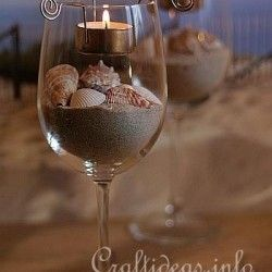 wine glass sand candle