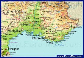 Карта региона Прованс - Франция
