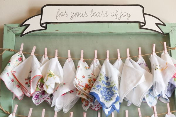 vintage hankies for tears of joy :) | Kassie Moore #wedding