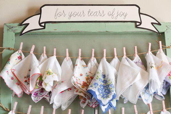 vintage hankies for tears of joy :) | Kassie Moore #wedding