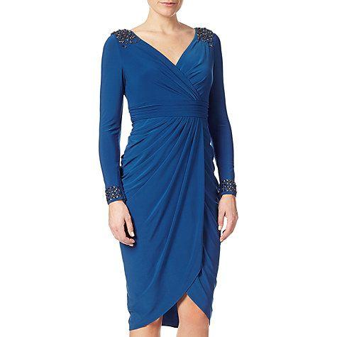 Buy Adrianna Papell Short Tulip Skirt Wrap Dress, Sapphire Online at johnlewis.com