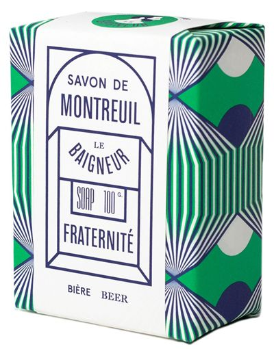 print & pattern blog - 'Le Baigneur' soap packaging online at howkapow