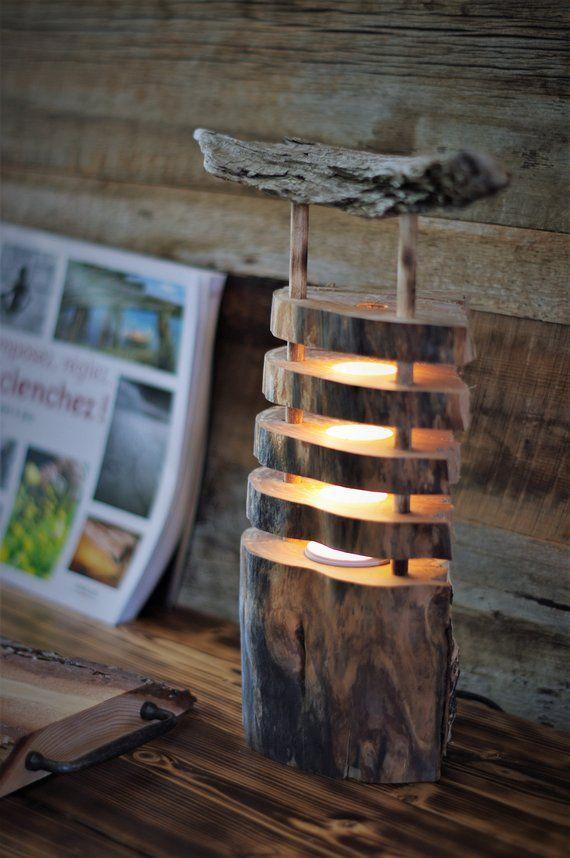 Lampe Noel Lampe de bois, table, chevet, bureau, bûche, Noel, bois, lumière
