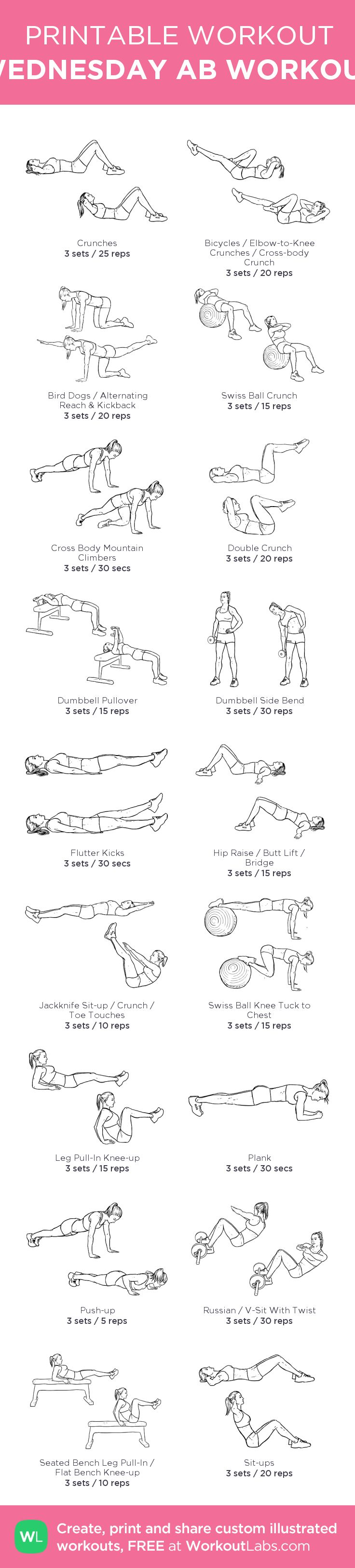WEDNESDAY AB WORKOUT: my visual workout created at WorkoutLabs.com • Click through to customize and download as a FREE PDF! #customworkout