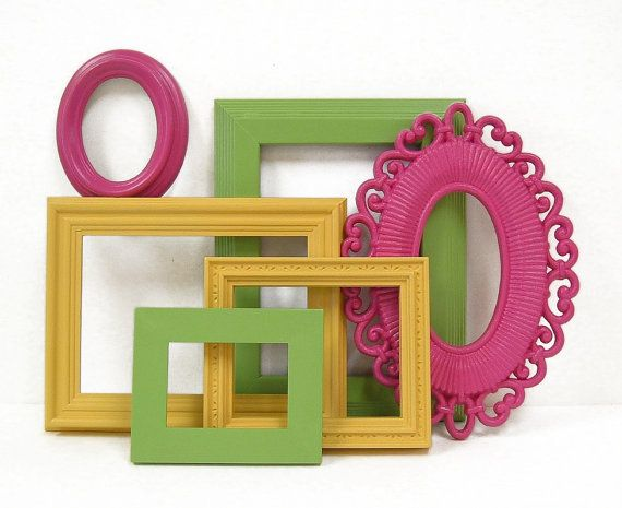 Picture Frame Set Colorful Bright Picture Frames Gallery Wall Yellow Green Pink Home Decor