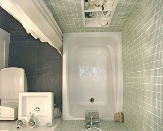 A small tub can fit in a tiny (4 X 6 foot)bathroom.  Extra deep tub.