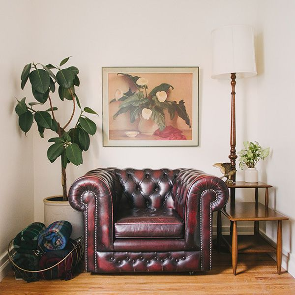 Welcome to Homestead 09 - Red Chesterfield Chair, Wall Art, Mid Century Side Table