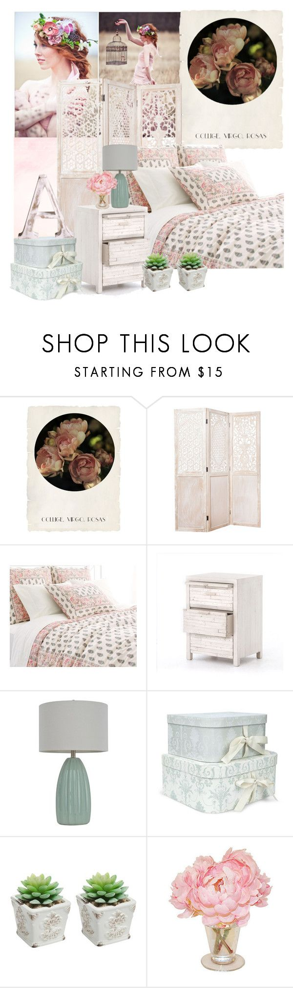 """roses"" by by-jwp ❤ liked on Polyvore featuring interior, interiors, interior design, home, home decor, interior decorating, Shabby Chic, Abigails, Pine Cone Hill and Décor Therapy"